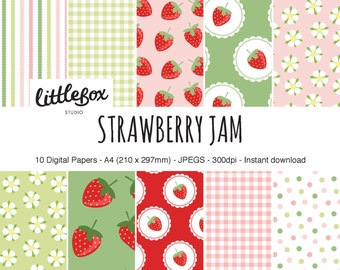 Strawberry Jam digital paper pack, instant download