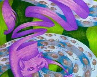 Children's Illustration Alice in Wonderland Cheshire Cat Eating Mice Fine Art Print 8x10