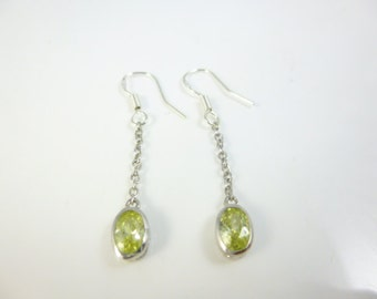 Peridot Earrings, Sterling Silver Dangle Earrings, Silver Chain Earrings, Green Earrings, Dainty Earrings