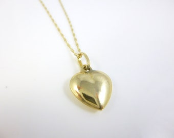 Gold Heart, 14kt Yellow Gold Heart Pendant Necklace, Gold Puffy Heart,  Dainty Necklace, Minimalist Jewelry