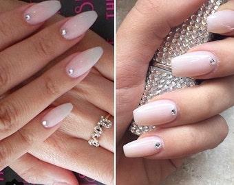Press on nails, Natural nails, pink nails, swarvoski crystals, pink false nails, hand painted nails, press on nails, wedding nails