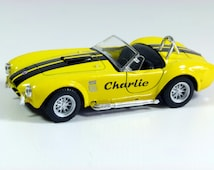 Personalised gift, small die cast model car, Shelby AC Cobra, 1:32, 12.5cm