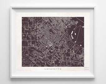 Lafayette Map, Louisiana Print, Lafayette Poster, Louisiana Art, Dorm Decorations, Giclee, Wedding Gift, Office Decor, Back To School