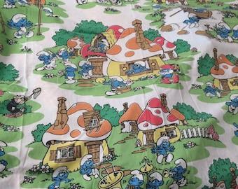 Smurfs twin flat sheet bright and sharp