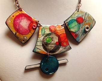 "Polymer clay, ""Surreal"" necklace, MAKE TO ORDER, handmade, hand painted - parure earrings to order"