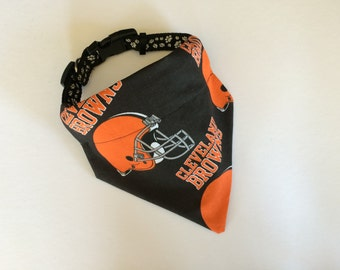 No-Tie, Slip Over Collar Dog Bandana, Cleveland Browns Fabric