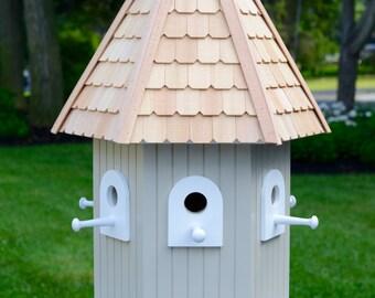 Large outdoor Hexagon Birdhouse with hand cut cedar roof shingles - Cape Cod Gray
