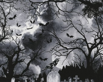 Graveyard Halloween Fabric,  Timeless Treasures Wicked Eve C3761 Cemetery Fabric, Halloween Landscape Fabric, Crow, Bats, Tombstones, Cotton