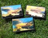 3 Colorado Sunset note cards.  6x3 1/2 inch,Handmade. Original Photography. 6 Handmade envelopes included.