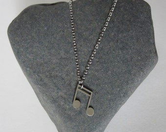 Music Note Necklace - Stainless Steel
