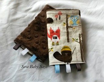 Baby Carrier Teething Pads-Reversible Strap Cover-Woodland Animals-Campy Tula/Brown Minky Drool Pads