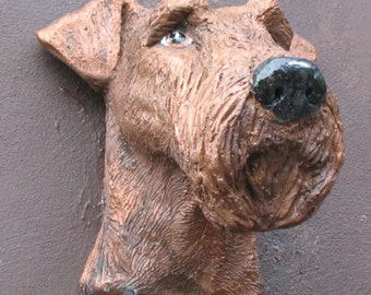 Stone Airedale Terrier (or Welsh ) Garden wall ornament
