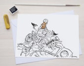 Birds - Boy on a Pile - Greetingcard - Greeting Card - Orange, Black & White