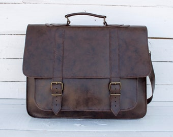 Leather Messenger Bag - 17 inch Laptop Bag - Waterproof coating  - Laptop Bag - Dark Brown - mens leather bag