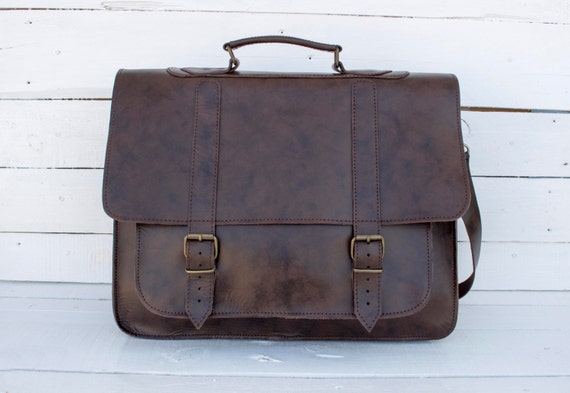 Leather Messenger Bag 17 inch Laptop Bag Waterproof