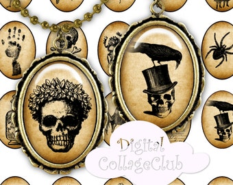 Digital Halloween Images 30 x 40mm Cabochon Images for Jewelry, Printable Collage Sheet