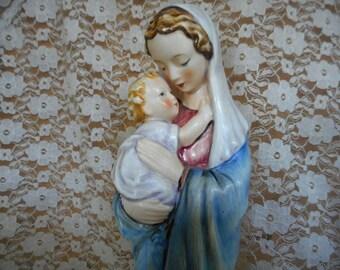 Sale! 25% Off!  Goebel Sacrart Madonna & Child Jesus Mary Porcelain Figurine Vintage