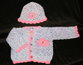 crochet Hexagon Cardigan Sweater with hat baby girl child