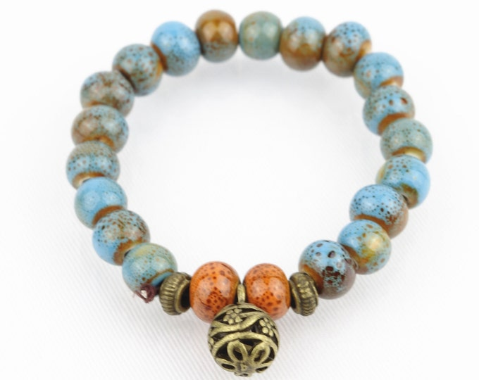 Blue Porcelain Pot Beads with Brass Ball Buddhist Prayer Wrist Mala Bracelet
