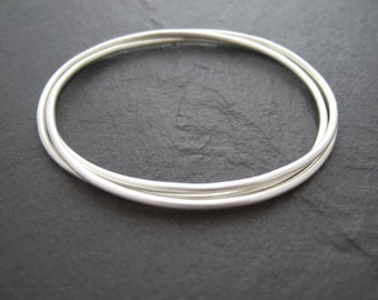 Sterling silver triple entwined bangle