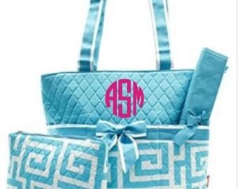 Aqua Greek Key  Quilted Diaper Bag with FREE Monogramming