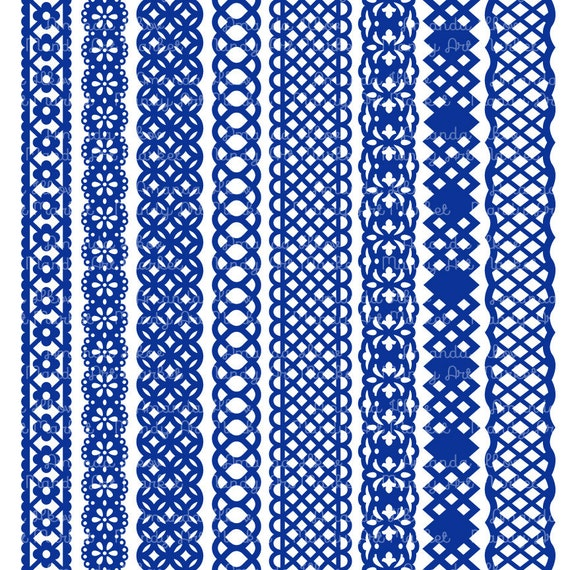 32 premium royal blue paper punch lace borders clipart