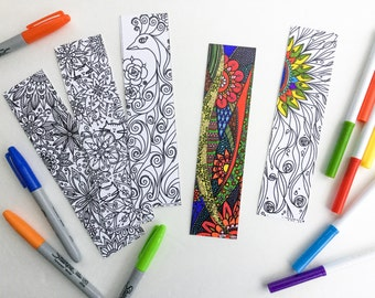 Set of 5 bookmarks, bookmark, coloring!