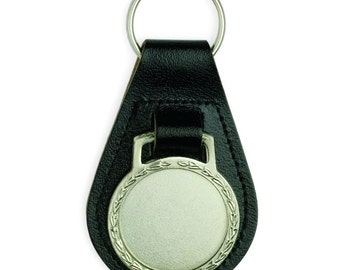 Black Leather Key Chain With 25mm Center