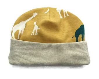 Baby ORGANIC Cotton Beanie, Giraffe Print Baby Hat, Cotton Baby Clothes, Yellow Baby Beanie