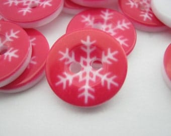 """Red Christmas Snowflakes Buttons 15mm (5/8"""") Christmas Holiday Clothing Sewing Buttons Xmas Buttoncrafts"""