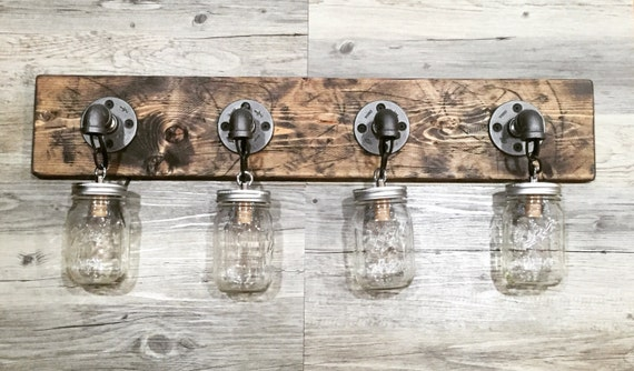 Rustic Industrial Modern Mason Jar Lights Vanity Light: Rustic/Industrial/Modern Wood Handmade 4 Mason Jars By Lulight