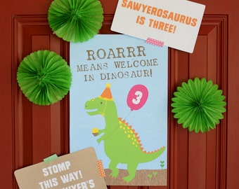 Dinosaur Party Welcome Signs, Dino Dig Sign, Welcome Sign, Dinosaur Birthday, Dinosaur Printable Signs, Dinosaur Party