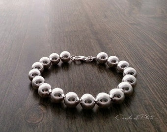 Sterling Silver Beads Bracelet,  10 mm. Sterling silver Ball Bracelet, Everyday Wear, Classic sterling silver bracelet