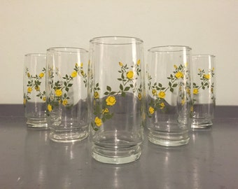 Five High Ball Glasses/Tumblers with Yellow Rose Garlands
