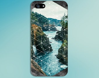 Stone Mountain River White Geometric Phone Case,  iPhone 7, iPhone 7 Plus, Tough iPhone Case, Galaxy s8, Samsung Galaxy Case, CASE ESCAPE