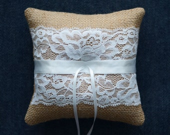 Wedding Ring Pillow, Ring Bearer Pillow, ring cushion for rustic wedding, burlap ring pillow