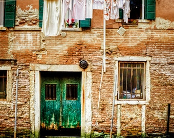 Italy Laundry Photo, Venice Photograph, Canal, Orange Green, Venice Wall Art, Home Decor Hanging Laundry 8x10 vi1
