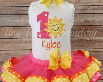 You are my Sunshine Birthday Tutu Outfit ~ Includes Top, Ribbon Trim Tutu & Hair Bow ~ Customize in any colors of your choice!