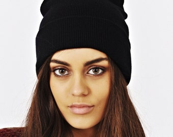 Plain Black Cuffed Warm Beanie Hat