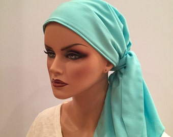 Carlee Pre-Tied Head Scarf - Sea Mist - A Cancer, Chemo, Alopecia Hat, Wrap, Head Cover for women experiencing hair loss.