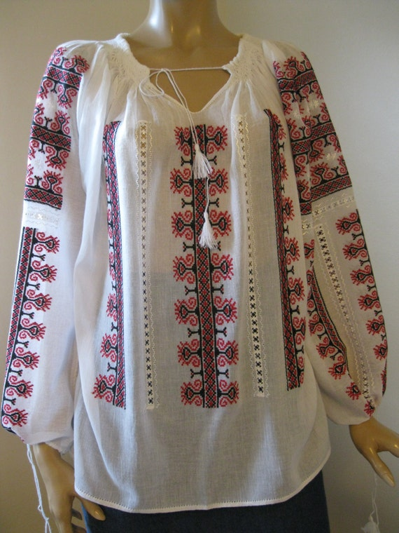 Hand embroidered romanian traditional blouse by realromania
