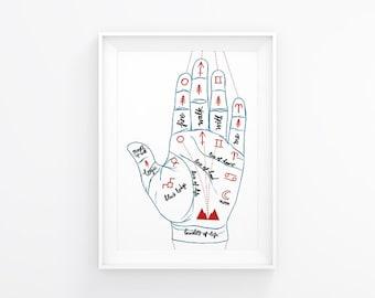 Twin Peaks Illustration Palmistry Print