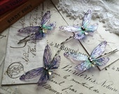 NEW  Pretty purple Faerie wing hair grips