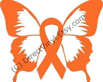 Orange Awareness Ribbon Butterfly Window Decal (Kidney Cancer, Kidney Disease, Leukemia, Melanoma, Multiple Sclerosis, Skin Cancer)