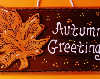 AUTUMN GREETINGS Sign Fall Halloween Thanksgiving Plaque Decor Wall Hanger