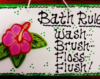 HIBISCUS Bath Rules Bathroom SIGN Decor Tropical Wall Plaque Handcrafted