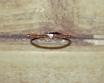 18k pink gold hammered very thin ring