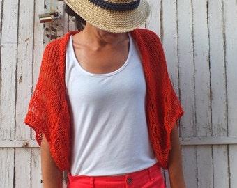 Orange Shrug Summer Shrug Loose knit cotton summer shrug Beach cover up