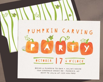 pumpkin carving party halloween party invitation pumpkin party for kids or adults printable - Evite Halloween Party