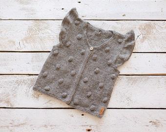 SALE 40% OFF Grey popcorn vest / Knitted bobble vest / Knitted Baby Vest /  Wool Baby vest / Girl / Kids vest / Children vest / Toddler vest